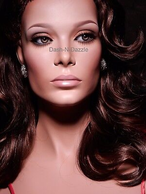 NEW TALL  Female mannequin wig bust  HAZEL GLASS EYES!