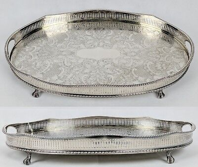 Vintage Reed & Barton Silver Plate On Copper Large Oval Claw Foot Tray 18x12x2.5