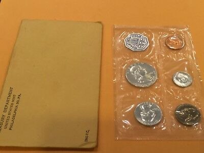1961 Silver Proof Set 90% Silver US Mint 5 Coins in Original Mint Envelope
