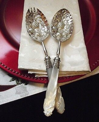 Cooper Bros Carved Mother of Pearl Handle Salad/Dessert Fork & Spoon Serving Set