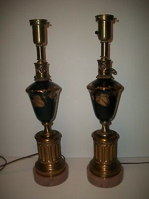 Pair of Vintage Gold Gilded Green Glass Table Lamps on Heavy Marble Base