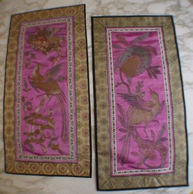 2 CHINESE EMBROIDERED SILK PANELS SILVER/GOLD THREADS BIRD OF PARADISE 24 x 12.5