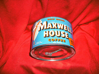 VIntage Maxwell House Coffee Blue Tin Can 1 lb Pound Full Unopened With Key