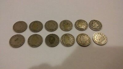 Lot of (12) Liberty V Nickel Various Dates 1899-1912