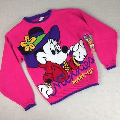 VTG Minnie Mouse Sweater M 10/12 Mickey Stuff For Kids Jet Set W/ Tags (Q)