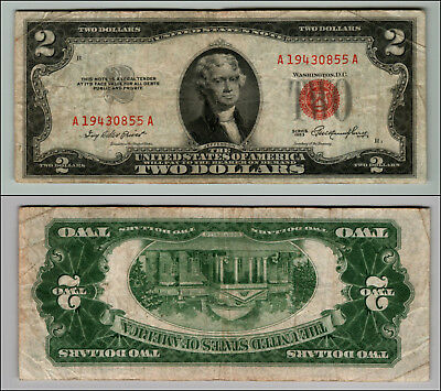 1953 $2 Dollar Bil Us Note Legal Tender Paper Money Currency Red Seal W329