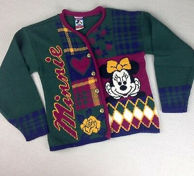 VTG Minnie Mouse Cardigan M 10/12 Sweater Mickey Stuff for Kids Jet Set (Q)