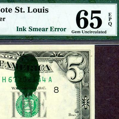 HGR FRIDAY ((ERROR)) 1977A $5 Ink Smear ((1of2 Consec#)) PMG GEM UNC 65EPQ