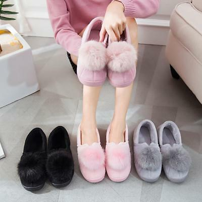 Women Pom Pom Warm Winter Slippers Antiskid Soft Plush Couple Indoor Home Shoes
