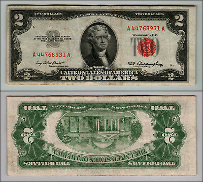 1953 $2 DOLLAR BILL OLD US NOTE LEGAL TENDER PAPER MONEY CURRENCY RED SEAL p852