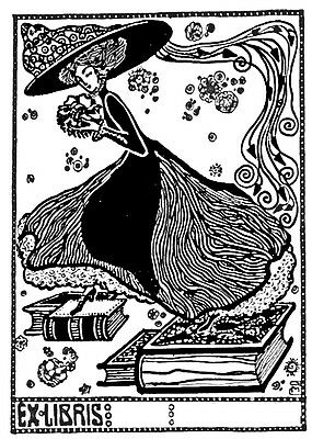 Stein-inspired Bookplates - Lady In Big Hat & Long Skirt Standing On Books