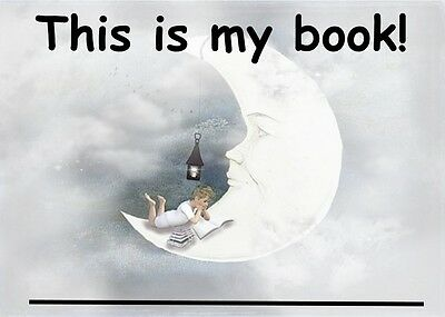 Beautiful Bookplates For Your Kid's Books - Boy Reading In The Curve Of The Moon