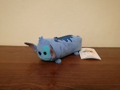 "Disney Tsum Tsum Stitch Blue Plush Pencil Case Pouch w/ Zipper 7"" VERY RARE"