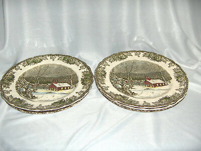 "5 Vintage Johnson Bros China Friendly Village 10"" Dinner Plates School House"