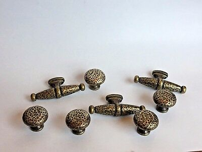 Rustic Hammered Brass, Heavy, Vintage Knobs-5, Drawer Pulls-3, Cupboard, Cabinet