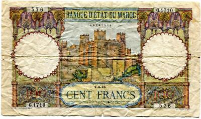 Morocco 1945 100 Francs About 1 Inch Split At The Fold (3 O'clock) F