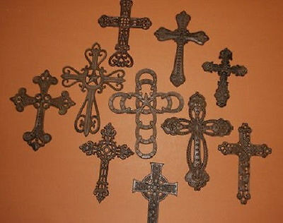 (10)pcs, CLASSIC WESTERN AMERICANA WALL DECOR, CAST IRON CROSS COLLECTION,RUSTIC