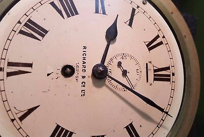 1938 Richard and Co Brass Ships Clock Wind Up Clock Maritime with Key