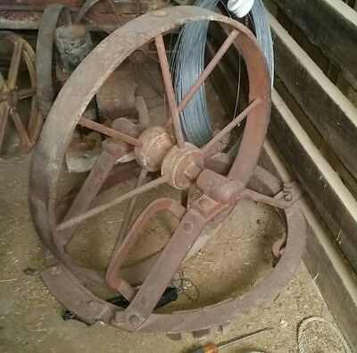 vintage collectible cast iron wheel stationary engine garden display rustic look