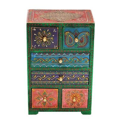 Vintage Design Handcrafted Wooden Embossed Painting 5 drawer Box Indian Art