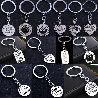 PET MEMORIAL Keyring Keychain Dog Cat Paw Print Love Heart Pendant Gifts Charm