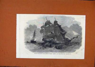 Antique Print Collision English Channel Steam Boats C1856 London News 0208270