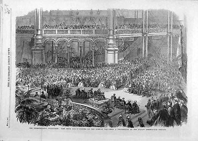 Old Antique Print 1862 Orchestra View International Exhibition People 578021