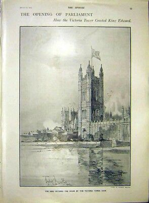 Old Antique Print Opening Parliament Victoria Tower London 1902 937311