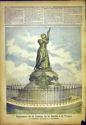 Old Antique Print Centenary France Savoy Monument French 1892 967391