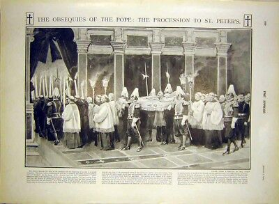 Old Antique Print Pope Funeral Procession Rome Obsequies Paget 1903 007361