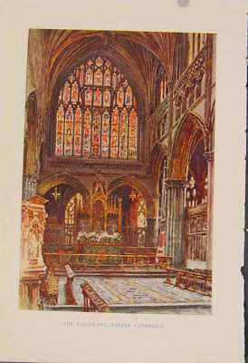 Old Antique Print Painting By Haslehust Sancturary Exter Cathedral 299331