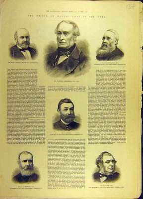 Old Antique Print 1884 Mayor Tynemouth Armstrong Urwin Messent Ure 378691