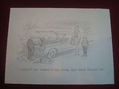 Original a e beard punch artist pencil sketch 11 x 8 ins broken car father joke