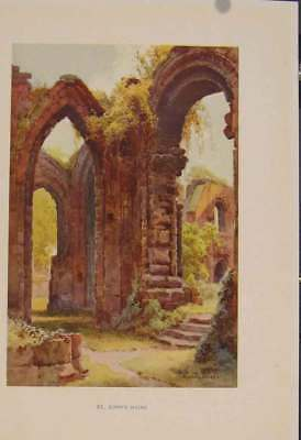 Old Antique Print Painting By Haslehust St Johns Ruins 419331