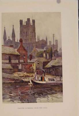 Old Antique Print Painting By Haslehust Chester Cathedral From Canal 439331
