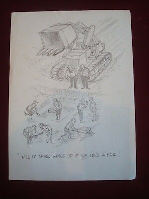 Original a e beard punch artist pencil sketch 11 x 8 ins archaeological dig joke