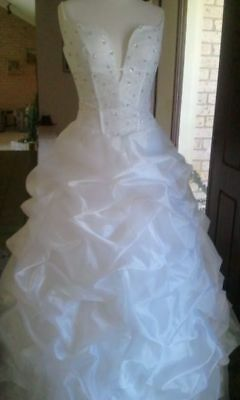 Wedding Dress Beaded Organza approx Size 10
