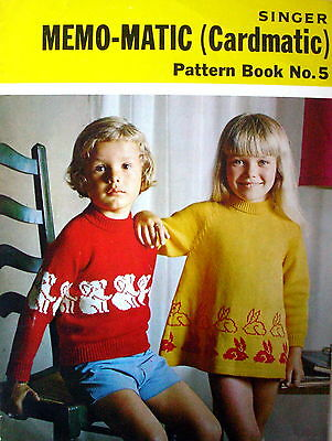 """SINGER MEMO-MATIC (Cardmatic) Knitting Pattern Book No.5 for 22 to 28"""" Chest VGC"""