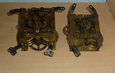 Two vintage mantel clock striking movements for spares