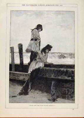 Old Antique Print London Almanack Two Girls Watching The Waves 1890 388911