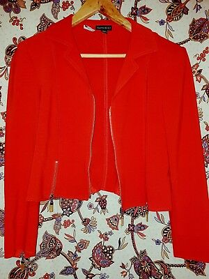 Red HARRY WHO Retro Zipper Jacket 80s Vintage! Size 10.