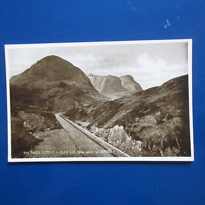 Old Postcard of The Three Sisters of Glen Coe from above the Gorge.