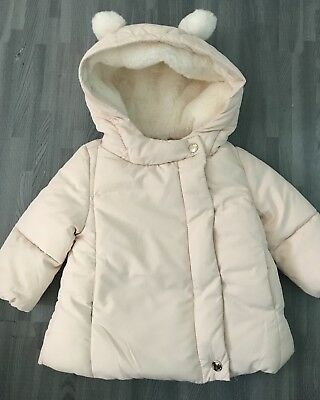 NWT Zara Baby Girl Faux Fur Lined Puffer Jacket Hood Size 3-6 months Soft Pink