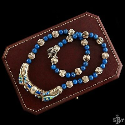 Antique Vintage Deco Sterling Silver Chinese Lapis Bead Enamel Dragon Necklace