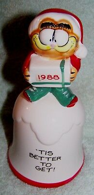 Vintage 1988 Garfield Christmas Bell / Ornament - 'Tis Better to Get'