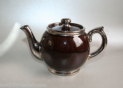 LUXEMBOURG MINIATURE TEA POT BROWN / Silver H:10cm Stoneware Faience Luxembourg