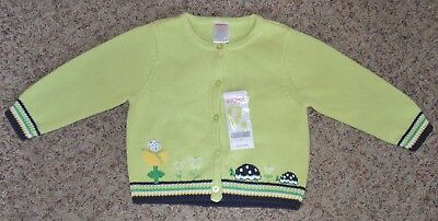 NWT Gorgeous GYMBOREE Sweater Green with turtle & flower embroidery NEW 12-18 mo