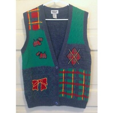 Small Vintage 1990s Tacky Ugly Christmas Sweater Vest with Scottie Dogs & Plaid