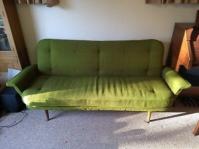 Vintage mid century early 1960's 3 seater Sofabed. Green. Metal frame. British.