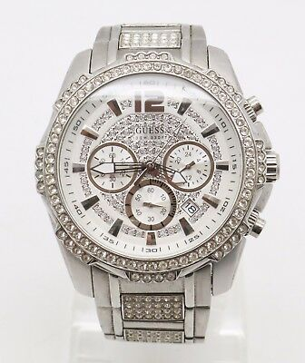 GUESS Mens U0291G1 Silver-Tone Chronograph Watch Adorned with Genuine Crystals